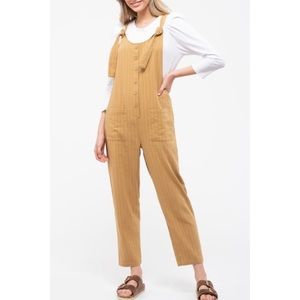 Blu Pepper Day to Day Tan Stripe Jumpsuit New